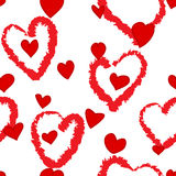 Seamless hand drawn heart red and white pattern Stock Images
