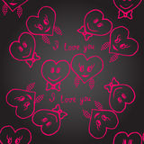Seamless. Hand-drawn hearts for valentines day. Vector Stock Photos