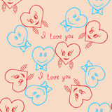 Seamless. Hand-drawn hearts for valentines day. Vector Royalty Free Stock Photography