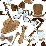 Seamless hand drawn hipster accessories pattern Royalty Free Stock Photos