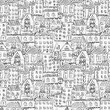 Seamless hand drawn house pattern Stock Image