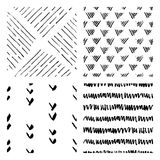 Seamless hand drawn ink patterns Royalty Free Stock Photo