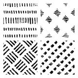 Seamless hand drawn ink patterns. Abstract brush doodles, vector illustration Royalty Free Stock Photography