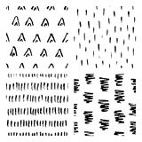 Seamless hand drawn ink patterns. Abstract brush doodles, vector illustration Royalty Free Stock Image