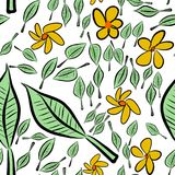 Seamless hand drawn leaves & flower illustrations background, good for graphic design, wallpapers or booklets. Cartoon style vector graphic Royalty Free Illustration