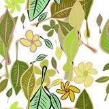 Seamless hand drawn leaves & flower illustrations background, good for graphic design, wallpapers or booklets. Cartoon style vector graphic Vector Illustration