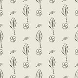 Seamless hand drawn leaves & flower illustrations background, good for graphic design, wallpapers or booklets. Cartoon style vector graphic stock illustration