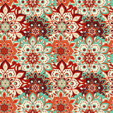 Seamless hand drawn mandala pattern. Vintage elements in orienta Stock Photography