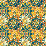 Seamless hand drawn mandala pattern. Vintage elements in oriental style. Texture for wallpapers, backgrounds and page fill. Islam. Arabic, indian, turkish stock illustration