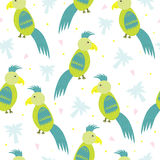 Seamless hand drawn parrot pattern vector illustration Stock Photography