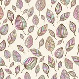 Seamless  hand drawn pastel colorful leaf pattern Royalty Free Stock Photos