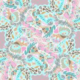 Seamless hand-drawn pattern with abstract leaves and flowers on pastel background. Seamless pattern can be used for wallpaper, pattern fills, web page Stock Photos