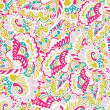 Seamless hand-drawn pattern with abstract leaves and flowers. Used as seamless wallpaper, textile, wrapping paper or background.  Pastel backdrop Stock Photo