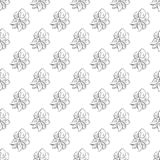 Seamless hand drawn pattern of abstract rose flowers isolated on white background. Vector floral illustration. Outline floral royalty free illustration