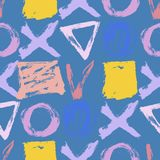 Seamless hand drawn pattern with abstract shapes. Seamless pattern. Vector abstract background. Hand drawn geometric illustration with circles triangles squares royalty free illustration