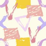Seamless hand drawn pattern with abstract shapes stock photos