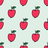 Seamless hand-drawn pattern with apple. Vector. Illustration. Doodle style Stock Images