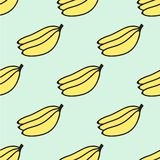 Seamless hand-drawn pattern with banana. Vector. Illustration. Doodle style Stock Image