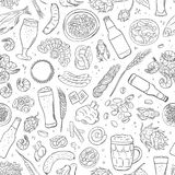 Seamless hand drawn pattern with Beer attributes. Stock Image