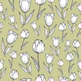 Pattern with black and white tulips stock illustration