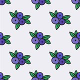 Seamless hand-drawn pattern with blueberry. Vector. Illustration. Doodle style Stock Photo