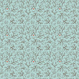 Seamless hand-drawn pattern with branches and bird house. Stock Photo