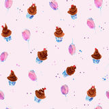 Seamless hand drawn pattern with brown cakes. And violet balloons on pink background. Watercolor background vector illustration
