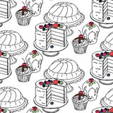 Seamless hand drawn  pattern. Cakes and cupcakes on a white background Royalty Free Stock Photography