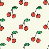 Seamless hand-drawn pattern with cherry. Vector. Illustration. Doodle style Royalty Free Stock Photography