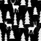 Seamless hand-drawn pattern with christmas tree and deers Royalty Free Stock Photo