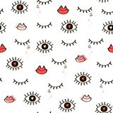 Seamless hand-drawn pattern of closed and open eyes, lips and he. Arts.Vector Stock Photography