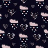 Seamless hand drawn pattern with clouds and hearts on dark. Background. Vector Illustration Royalty Free Stock Photos