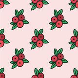 Seamless hand-drawn pattern with cranberry. Vector. Illustration. Doodle style Stock Photos