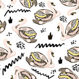 Seamless hand drawn pattern with creative swans. Fashion trendy texture.Great for fabric and textile. Vector Illustration. Royalty Free Stock Images