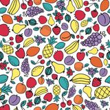 Seamless hand-drawn pattern with differnt fruits. Vector illustration. Doodle style Stock Photo