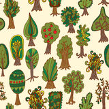 Seamless hand-drawn pattern with doodle forest tree Stock Photos