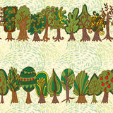 Seamless hand-drawn pattern with doodle forest tree Royalty Free Stock Photography