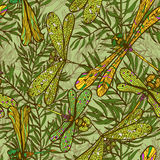 Seamless hand drawn pattern with dragonflies Royalty Free Stock Photo