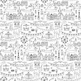 Seamless hand drawn pattern with festival elements vector illustration