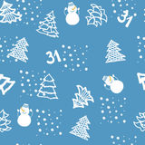 Seamless hand drawn pattern with fir-trees and snowmen on a blue background. NNew Year`s background royalty free illustration