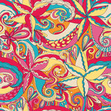 Seamless hand-drawn pattern, floral background Royalty Free Stock Images