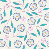 Seamless hand drawn pattern with flowers and butterflies. Vector backgrounds Stock Image