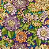Seamless hand drawn pattern with flowers. Decorative pattern with abstract flowers and leaves. Stock Photo