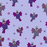 Seamless hand-drawn pattern with funny animation birds and stars Stock Photo