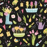 Seamless hand drawn pattern with garden tools plants flowers pot Dark colors Vector design. Seamless hand drawn pattern with garden tools. Colorful endless vector illustration