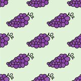 Seamless hand-drawn pattern with grape. Vector Royalty Free Stock Images