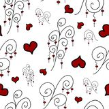 Seamless pattern with doodle branches and hearts stock illustration