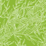 Seamless hand drawn pattern with leaves Stock Image