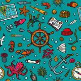 Seamless hand-drawn pattern. Marine theme. Sea inhabitants, plants, and shipboard equipment on a bright blue background Stock Photography