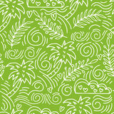 Seamless hand-drawn pattern with palm trees and clouds Stock Photos